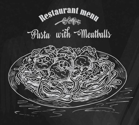 beautiful hand drawing pasta with meatballs with tomato sauce. Restaurant menu