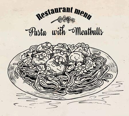schöne Hand, die Nudeln mit Fleischbällchen mit Tomatensauce zeichnet. Speisekarte Vektorgrafik