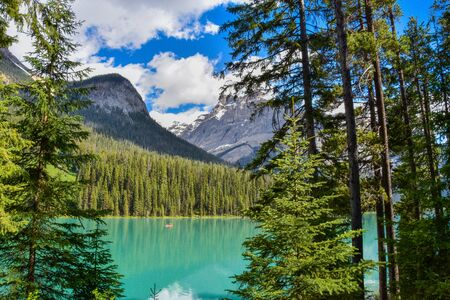 Canoes and Kayaks frequent the Beautiful Emerald lake in Yoho National Park, Banff Canada  L
