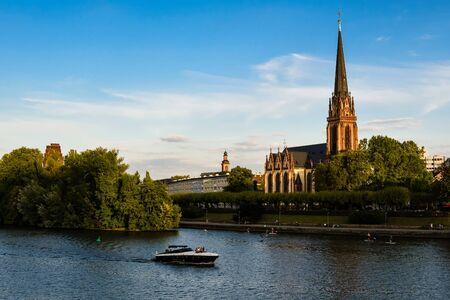 Frankfurt Germany, Church on the river