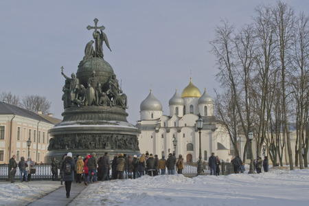 Veliky Novgorod on February 22, 2015. Monument 1000 years of Russia. In the background is St. Sophia Cathedral