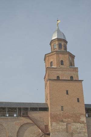 The brick tower of the Kremlin wall. Veliky Novgorod, Russia photo