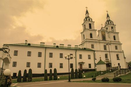 minsk: The old Church, Vintage Sepia photo, Minsk, Belarus