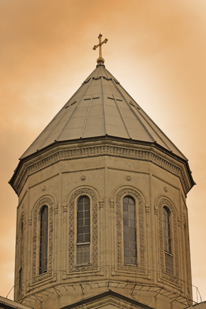 The tower of the Cathedral. Tbilisi Georgia. Sepia photo
