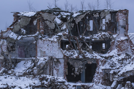 vyborg: Destroyed building. Like the head of the robot. Vyborg, Russia