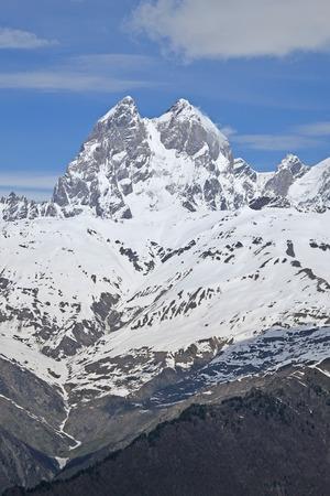 mestia: Snow-capped mountains. Ushba, Mestia Georgia Stock Photo
