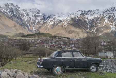 russian car: Stepantsminda village, Georgia - 5 May 2015: Russian car Volga