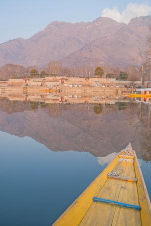 boatman: Sunset Dal Lake in Srinagar, Kashmir, India