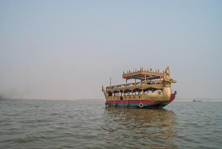 benares: Boat near Holy Ghats of Varanasi