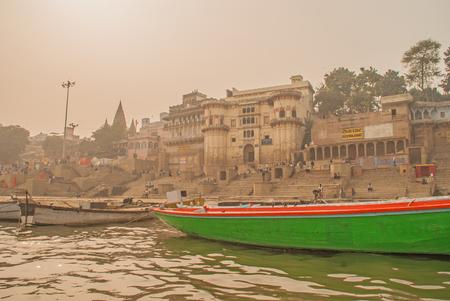 Varanasi, India - January 17, 2016. A view of Holy Ghats of Varanasi