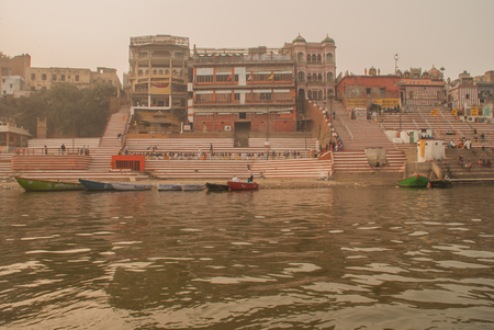 boatman: Varanasi, India - January 17, 2016. A view of Holy Ghats of Varanasi