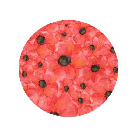 circle shape of poppies on a white background. hand drawn watercolor botanical. for cards, for printing Banco de Imagens
