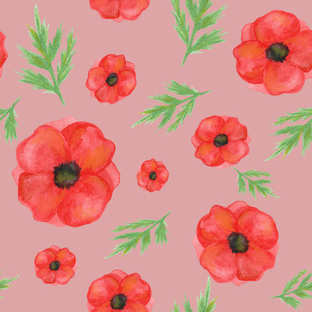 seamless pattern from poppies on a pale pink background. hand painted watercolor. for design, textiles, print