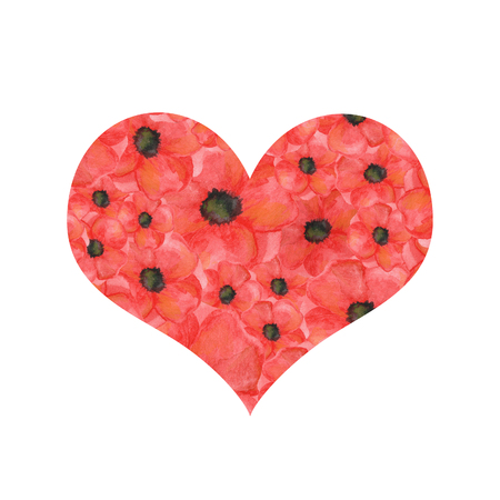 heart shape of poppies on a white background. hand drawn watercolor botanical. for cards, for printing
