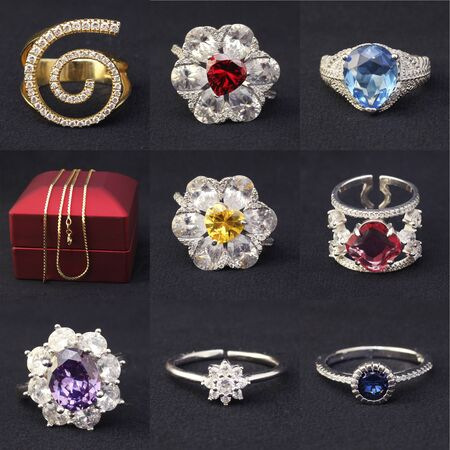 silver and gold products, jewelry. There are nine pictures in one photo. rings with precious stones, gold chain.
