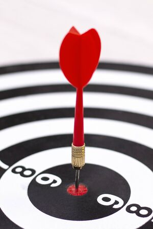 Dartboard with hit bullseye on white background, closeup. Bullseye is a business target. Target concept. vertical photo