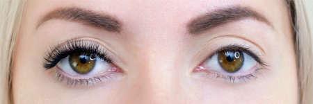 Eyelash extension procedure. Woman eye with long eyelashes. Close up Stockfoto