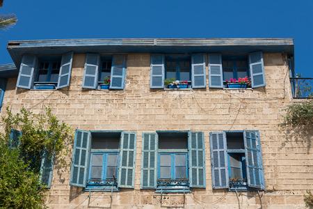 yaffo: Jaffa house with blue windows, Israel