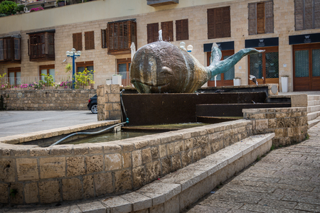 yaffo: Whale Sculpture In Fountain In Old City Jaffa Foto de archivo