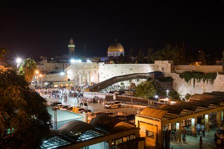 kotel: Old city of Jerusalem at night, Israel