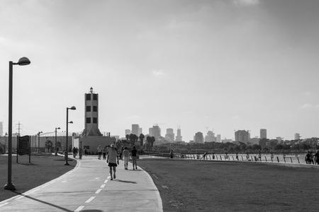 aviv: View Tel Aviv promenade, Israel Editorial