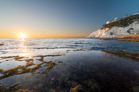 hanikra: View of Rosh Hanikra from Achziv Beach, Israel