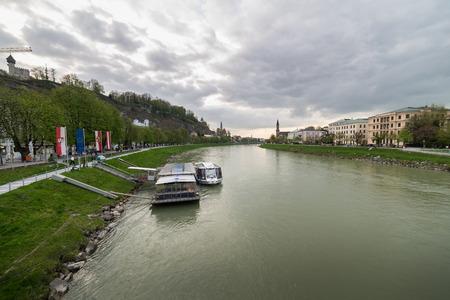 salzach: View of the Salzach river in Salzburg, Austria Stock Photo