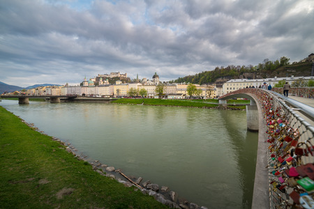 salzach: View of Fortress Hohensalzburg and Salzach river in Salzburg, Austria