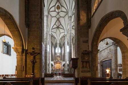 Visiting Franziskanerkirche church in Salzburg, Austria