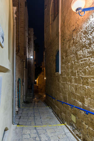 At ancient Jaffa alleys at night, Israel Editorial