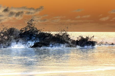 A strong wave of the Caribbean sea breaking on the shore with oil-like nuances