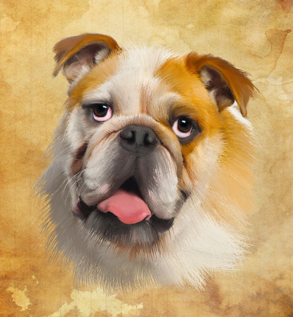 panting: Yellow Dog Stock Photo