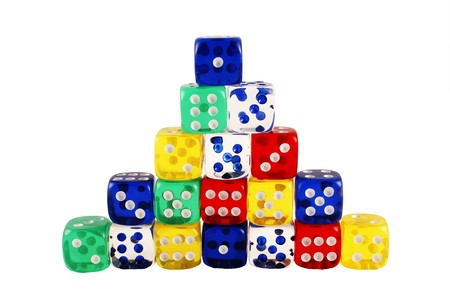 yello: colorful counting dice pyramid Stock Photo