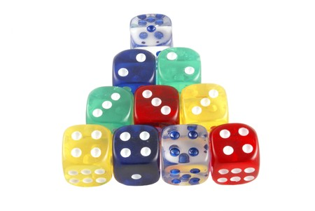 colorful counting dice pyramid Stock Photo