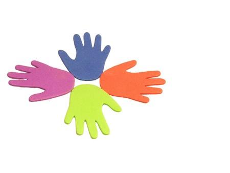 diversify: four foam hand rainbow Stock Photo