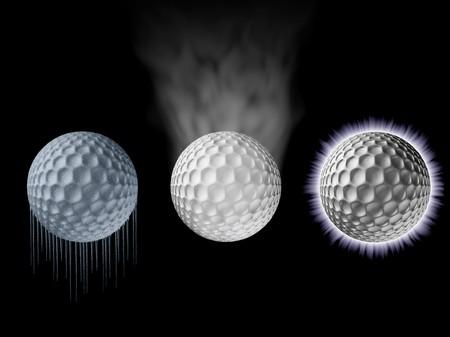 smoldering: Golf Balls Panel Freezing,Smoking,Electrified Stock Photo