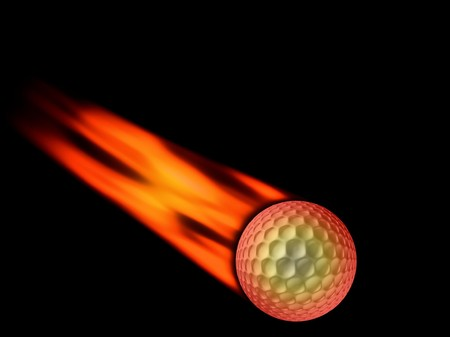 golf ball with flaming tail