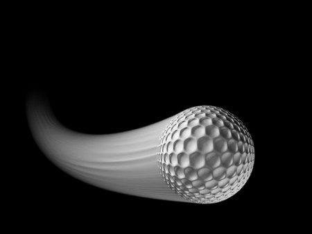 golf ball in flight with streak