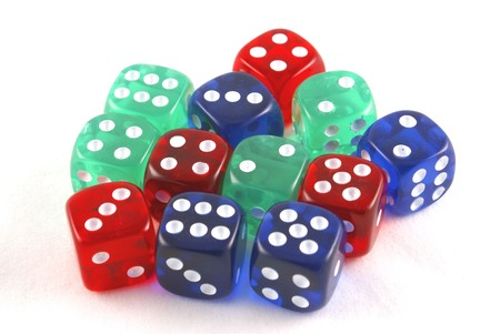 red green and purple dice