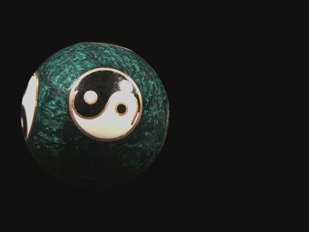 antipode: Yin Yang Sphere on Black background Stock Photo