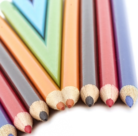 Pencil Reflection on White Background Stock Photo