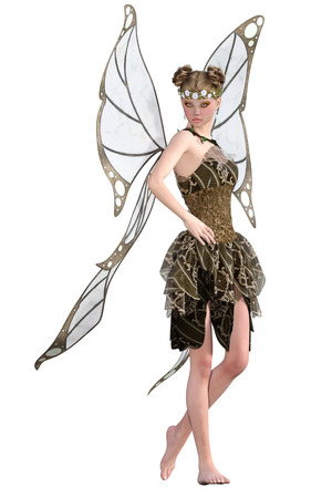 Beautiful fairy isolated on white. 3d render Stock Photo