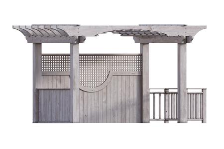 Wooden pergola isolated on white, 3d render