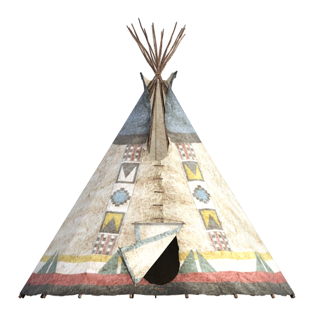 Tepee isolated on white, 3d render 스톡 콘텐츠