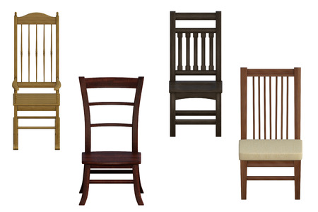 Set of wooden chairs isolated on white, 3d render Foto de archivo - 98261278