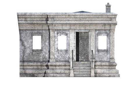 Ancien bâtiment en pierre blanche isolé sur blanc, rendu 3d Banque d'images - 98261369