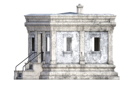 Ancien bâtiment en pierre blanche isolé sur blanc, rendu 3d Banque d'images - 98261372