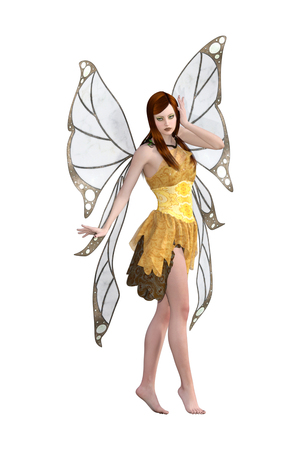 Butterfly fairy isolated on white, 3d render Stock Photo
