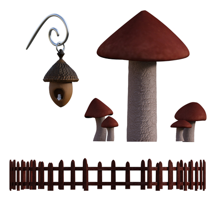 Mushrooms, Picket Fence and acorn candle lamp isolated on white, 3d render