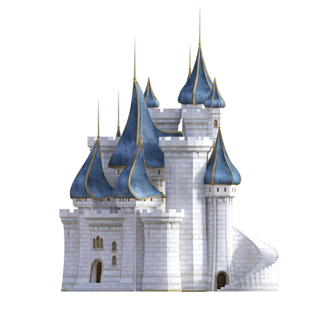 White and blue royal castle isolated on white, 3d render